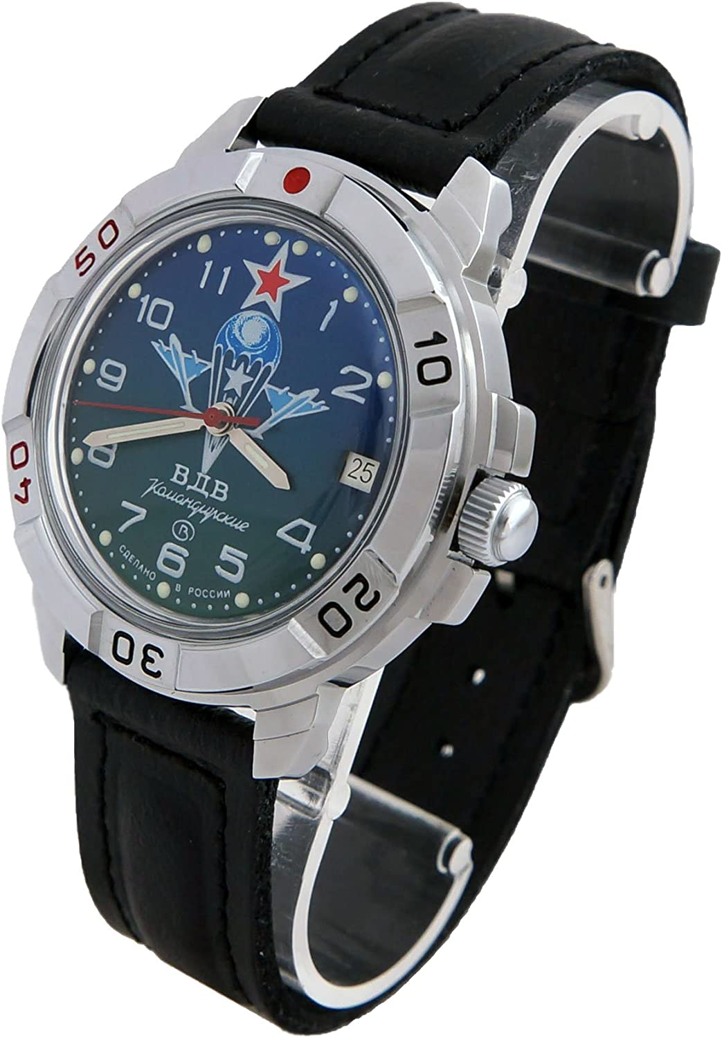 Vostok Komandirskie 431818 2414A Military Special Forces Russian Watch Green VDV Paratrooper
