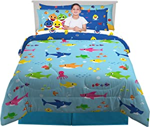 Franco Kids Bedding Super Soft Comforter and Sheet Set with Bonus Sham, 7 Piece Full Size, Baby Shark