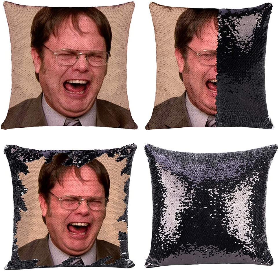 Mermaid Throw Pillow Cover Magic Reversible Sequin Cushion Cover Decorative Pillowcase That Change Color (L The Office-Black Sequins)