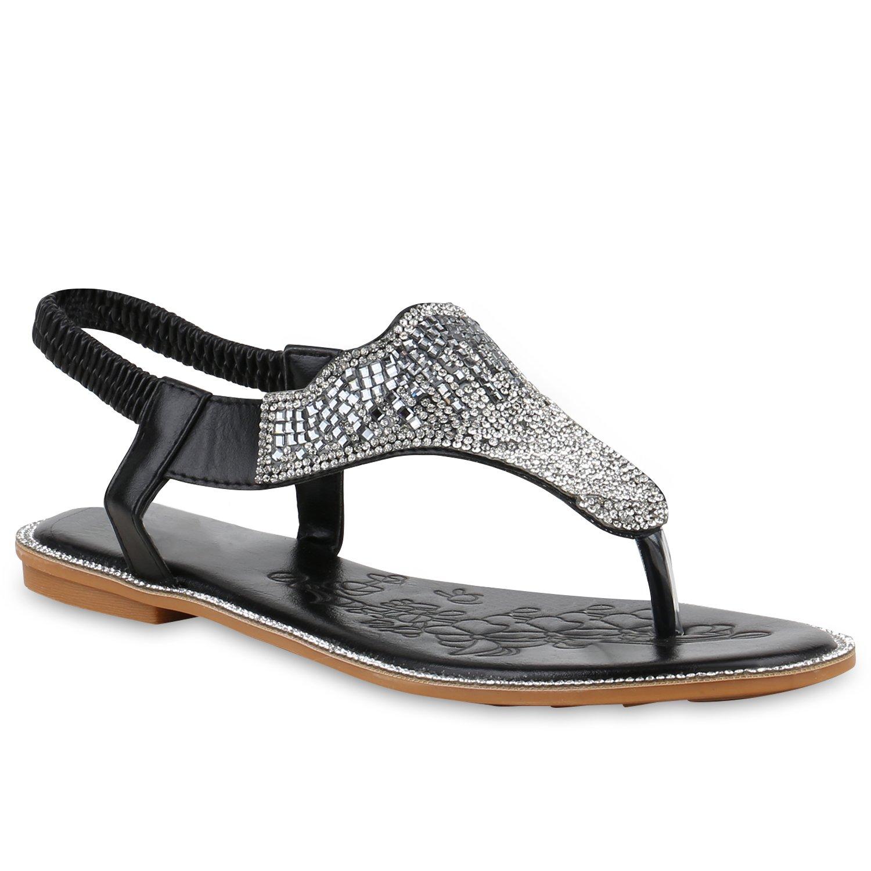 Stiefelparadies Damen Sandalen Zehentrenner mit Blockabsatz Flandell  36 EU|Schwarz Strass