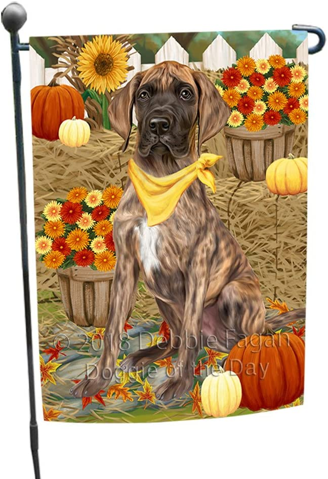 Fall Autumn Greeting Great Dane Dog with Pumpkins Garden Flag GFLG0640