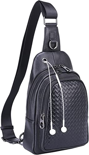 Banuce Top Grain Cowhide Leather Versatile Sling Bag Shoulder Chest Packs Cross Backpack