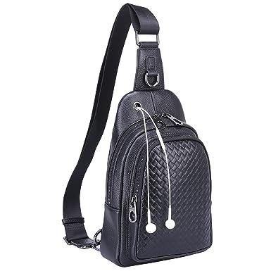 Banuce Men s Genuine Leather Versatile Sling Bag Shoulder Chest Packs Cross Backpack
