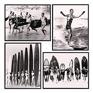 Beach House Wall Decor Set - Vintage Retro Surf Photos - 8x10 Shabby Chic Home Decoration Posters - Office, Living Room, Bedroom - Unique Gift for Surfer, Ocean, Sea, Surfing Fans - UNFRAMED Pictures