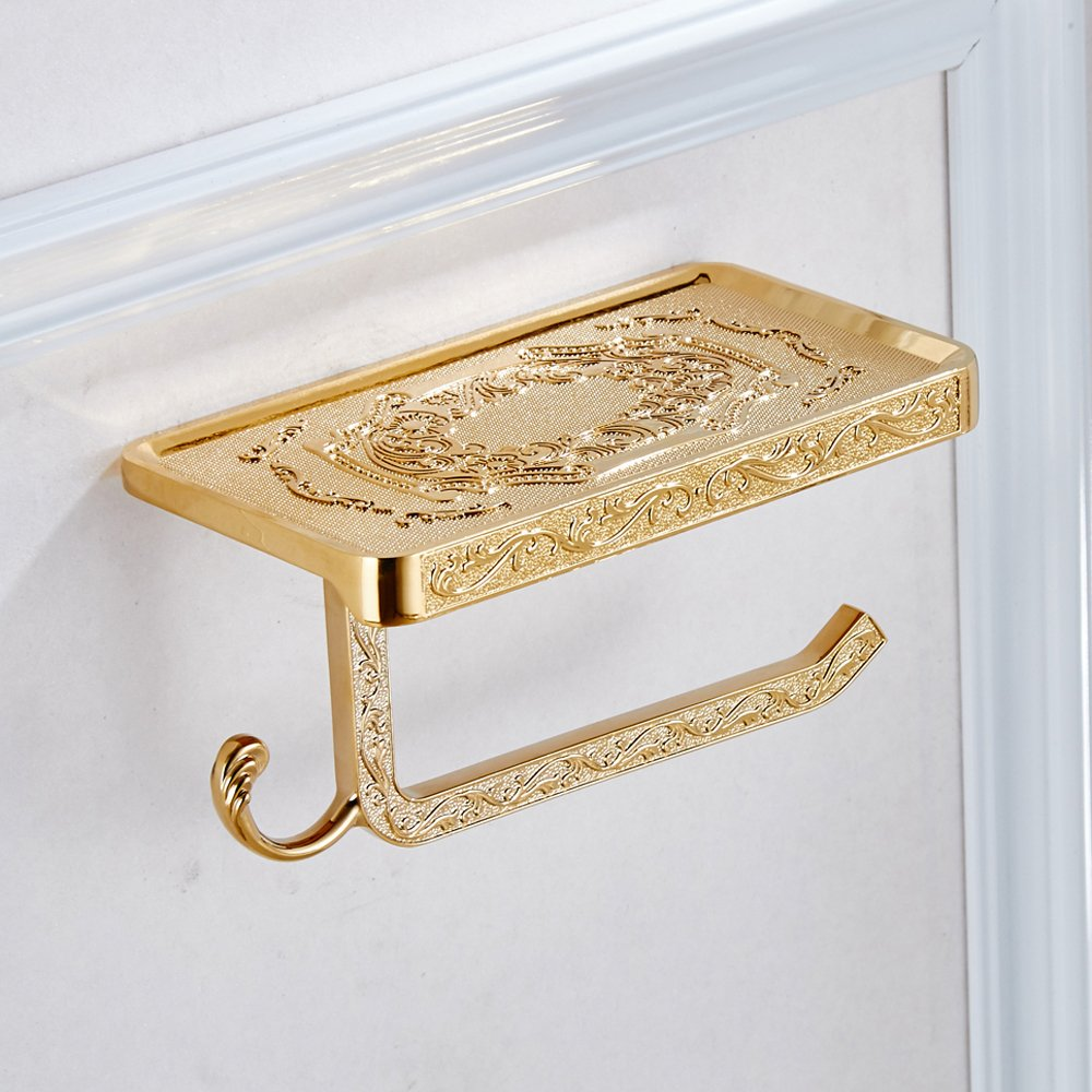 Leyden TM Luxury Zinc Alloy Toilet Paper Holder Wall Mount Bathroom Kitchen Roll Paper Tissure Rack and Hook, Gold by Leyden (Image #4)