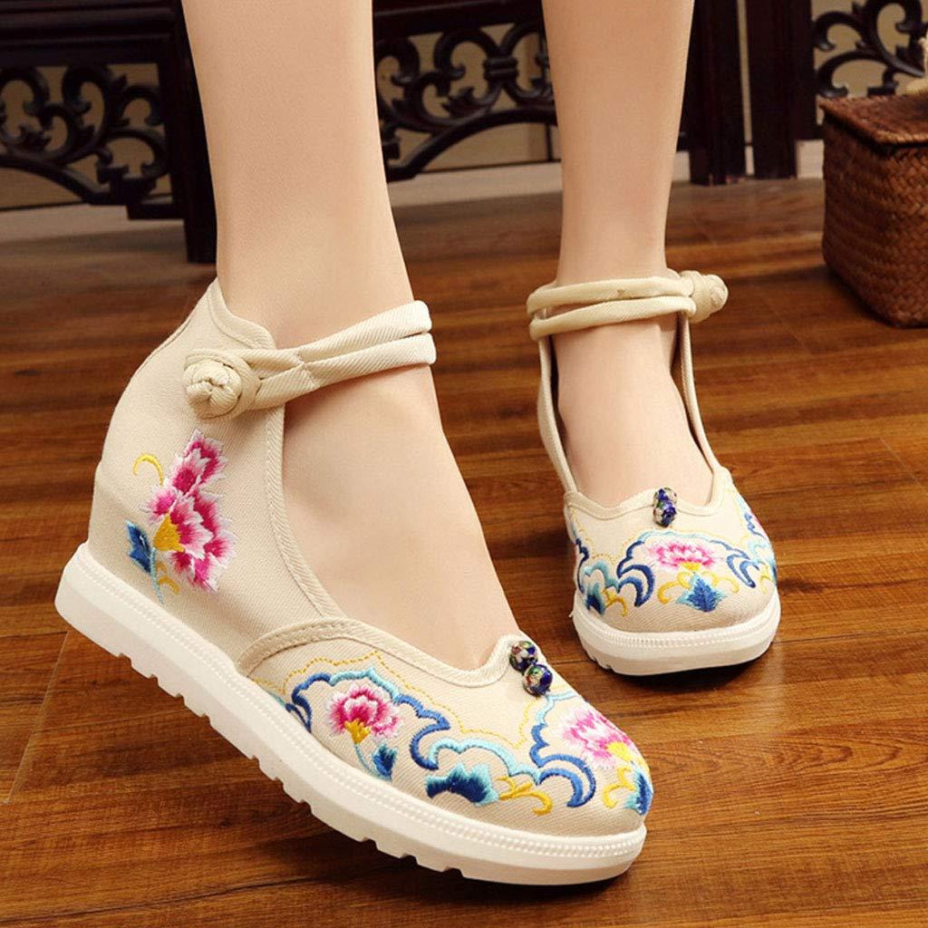 XHX Frauen Bestickte Schuhe Elegante Lässige Beige 5cm High Heels Lässige Elegante Kleidung Schuhe Ballettschuhe (Farbe : Beige, größe : 40) Beige f2fc3e