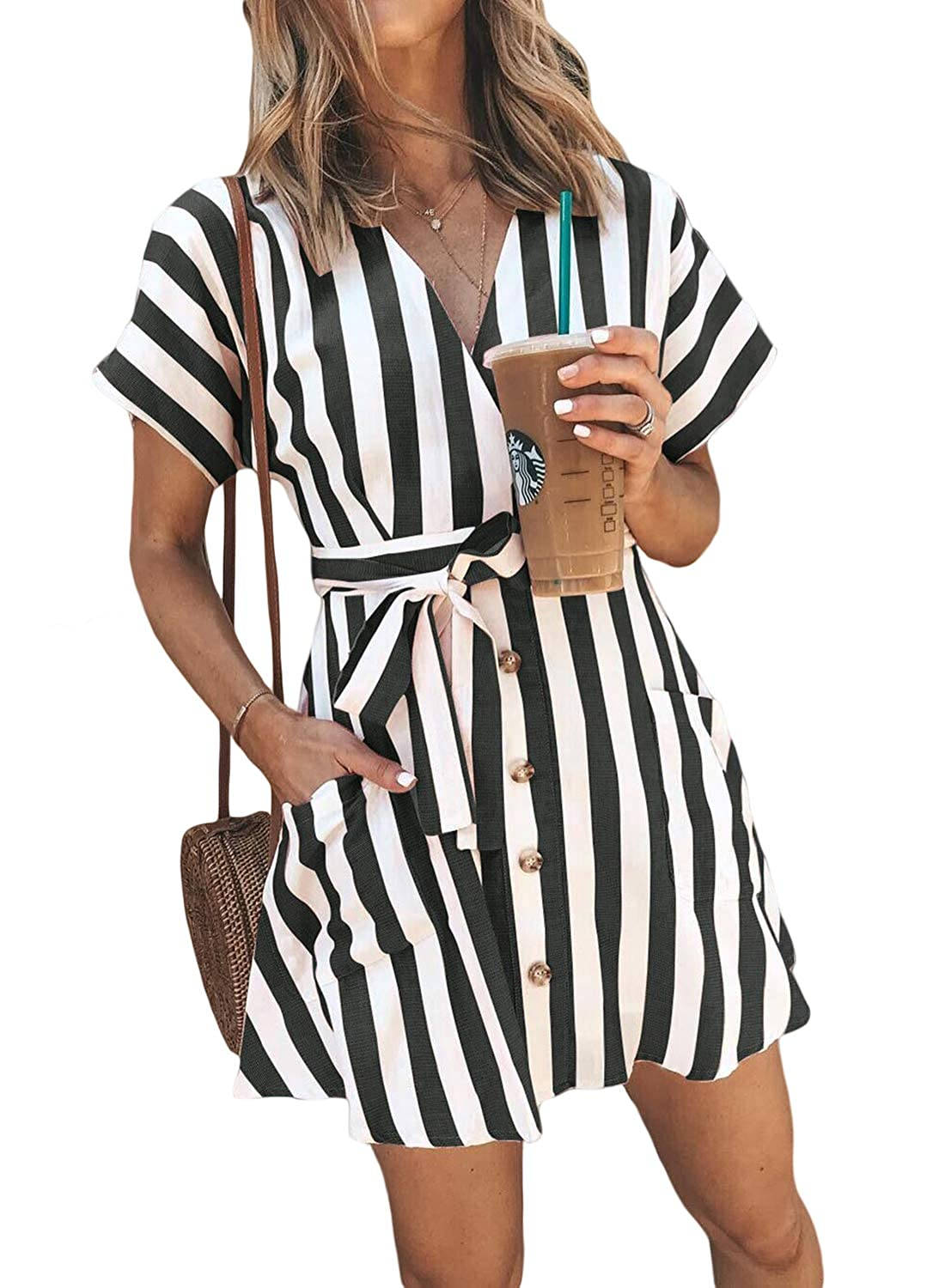6b1601ba060a HOTAPEI Womens Fashion Stripe Short Sleeve Wrap V-Neck Casual Summer Button  Front Mini Short Shirt Dress with Belt at Amazon Women's Clothing store: