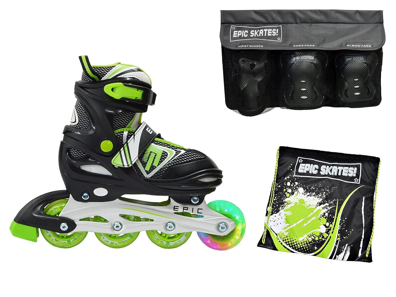 Epic Rageブラック&グリーン調整可能LEDライトUp Inline Skates 4pc。バンドルW /スケートバッグ&安全パッド Youth 1-4 / Small Pads Rage  Youth 1-4 / Small Pads