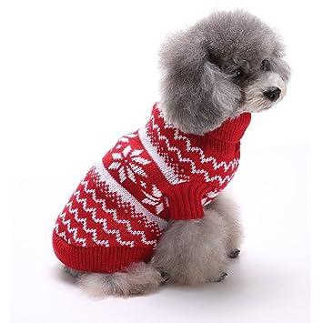 Tuopuda Navidad Mascotas suéter Invierno Perro Nieve Lana del Perrito Traje Caliente Ropa de Abrigo (
