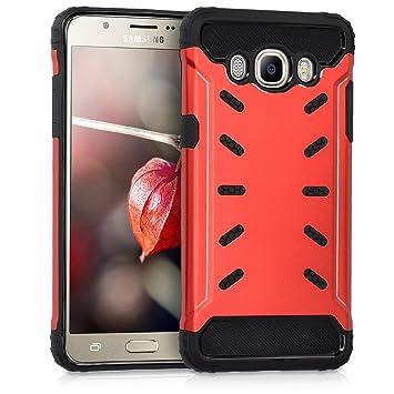 kwmobile Funda para Samsung Galaxy J5 (2016) DUOS - Carcasa híbrida de TPU con diseño futurista en Rojo/Negro