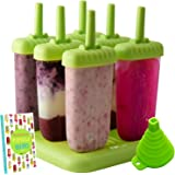 Popsicle Molds Ice Pop Maker - Bpa-free Popsicles with Tray and Dripguard Function - FREE Recipe e-book + FREE SILICONE FUNNEL
