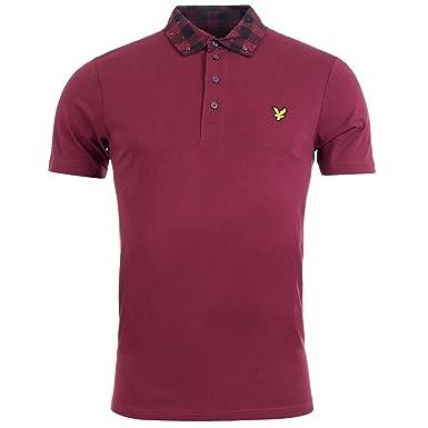 Lyle & Scott Polo Woven Collar Polo Shirt Claret Jug Burdeos Rojo ...