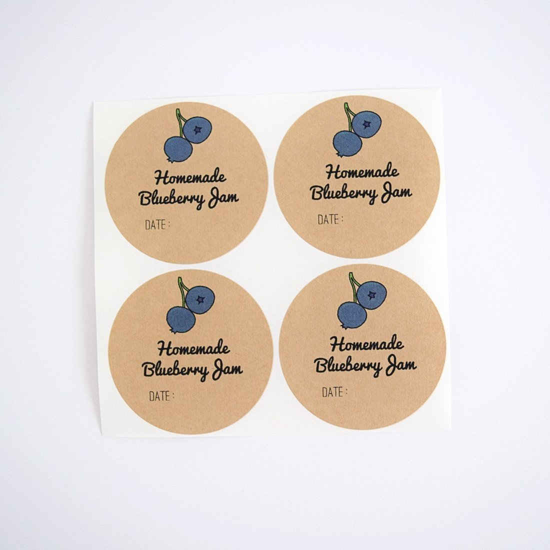 Homemade Blueberry Jam Labels for Mason Jars by Once Upon Supplies, Blueberry Jam Canning Labels, Canning Supplies, 2'' Size for Regular Mouth Jars, 40 Pcs