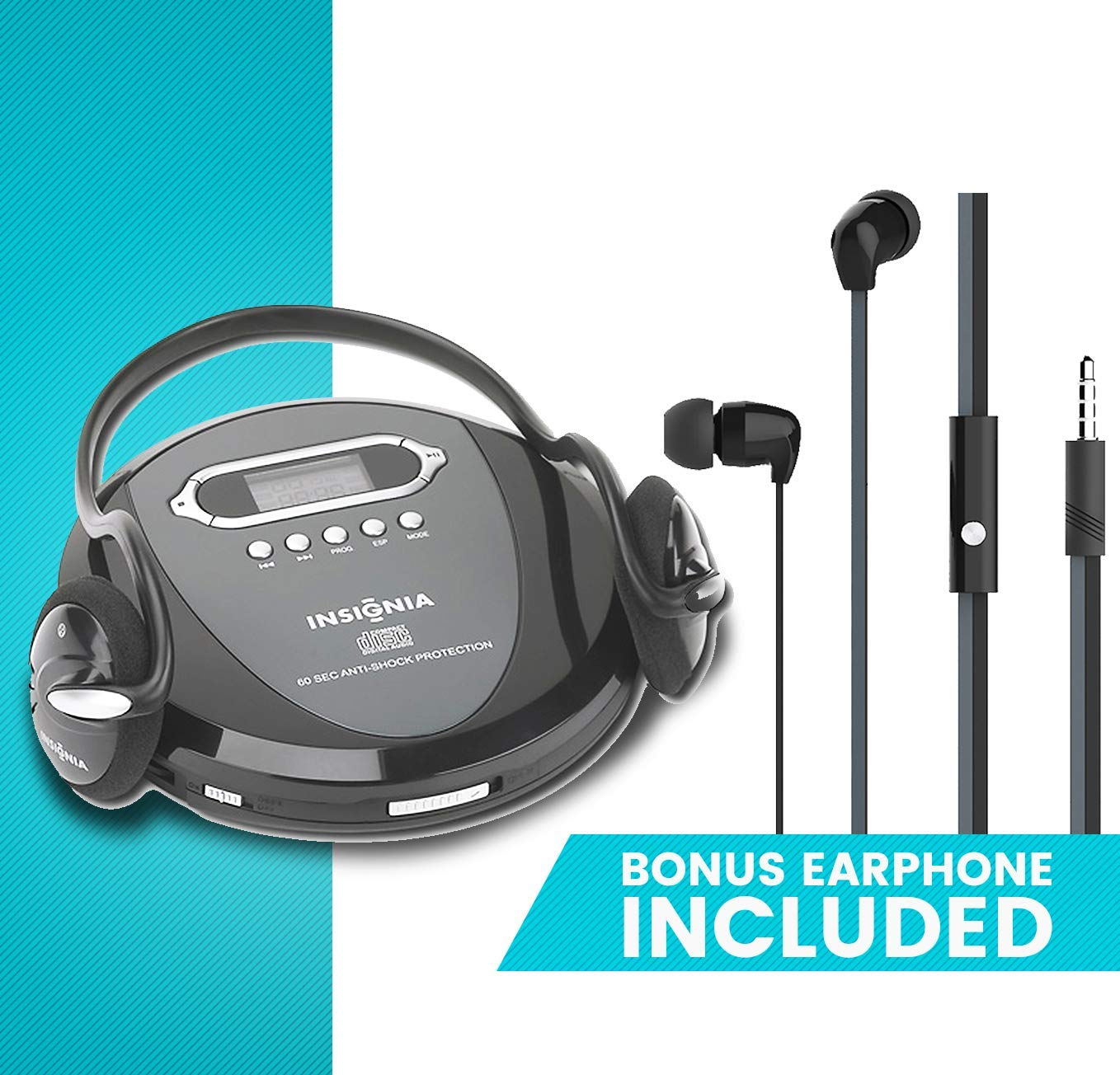 Portable CD Player Headphone & (Earphone NEW) Included - Skip Protection for CD, CD-R, CD-RW Black/Charcoal by Insignia Products (Image #1)