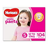Huggies Ultra Dry Nappy Pants, Girls, Size 5 (12-17kg) (Pack of 104)