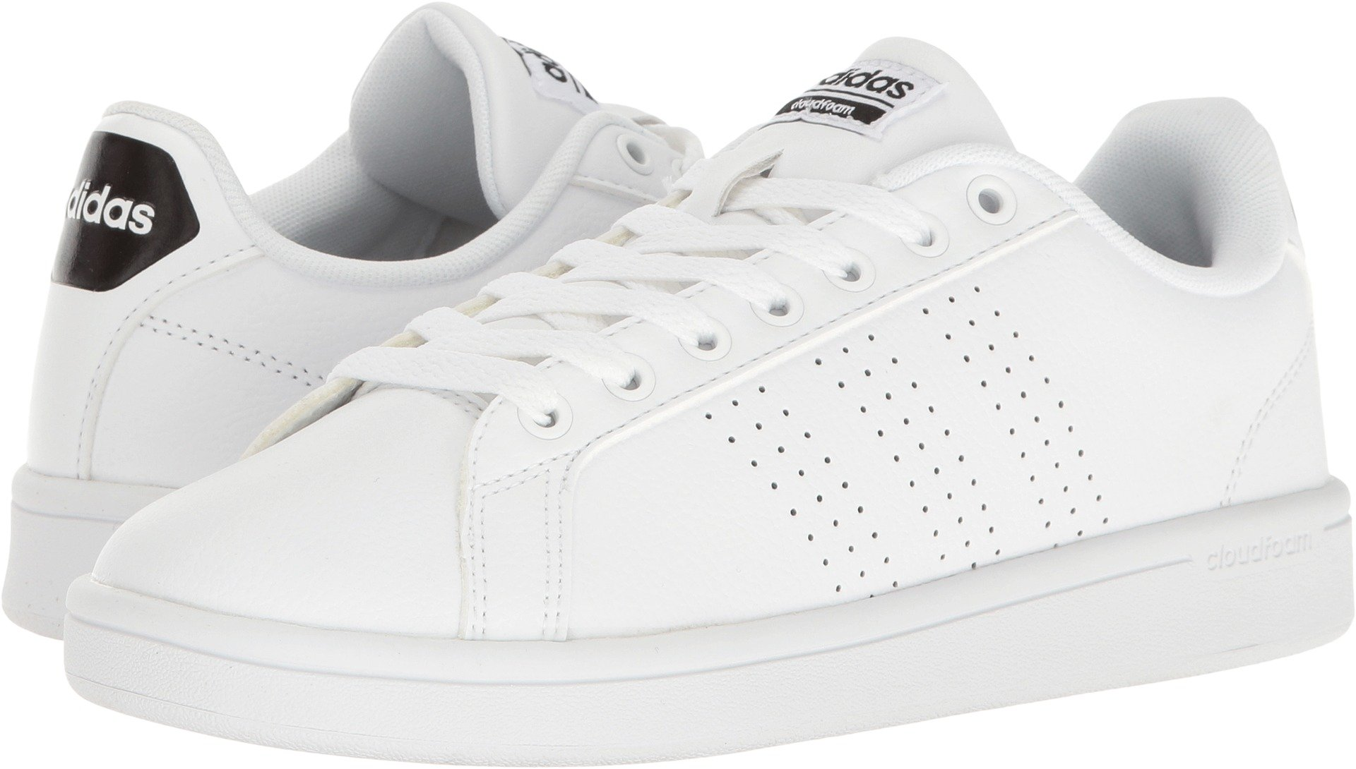 adidas Women's Shoes Cloudfoam Advantage Clean Sneakers, White/White/Black, (5 M US)