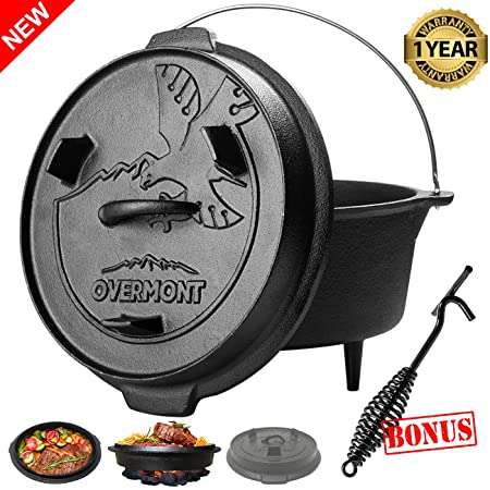 Overmont 6 Quart Camp Dutch Oven All-round Cast Iron Casserole Pot Dual Function Lid Griddle Pre Seasoned with Lid Lifter Handle for Camping Cooking BBQ Baking