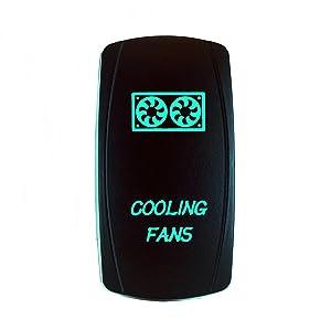 STVMotorsports – Laser Rocker Switch – Cooling Fans – On/Off LED Light – 12 Volt (Green)