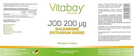 Yodo 200 microgramos - de yoduro de potasio - 250 cápsulas: Amazon.es: Salud y cuidado personal