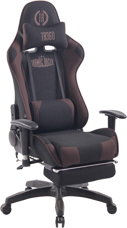 CLP Fauteuil De Bureau Turbo XFM Tissu I Chaise De Bureau Ergonomique Fonction De Massage I Réglable en Hauteur avec Repose-Pied Noir/Gris noir/marron