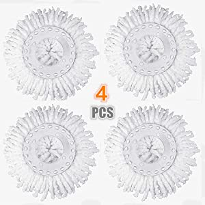 AIVS Replacement Mop Micro Head Refill Hurricane for 360° Spin Magic Mop-Microfiber Replacement Mop Head-Round Shape Standard Size,White-4 Pack