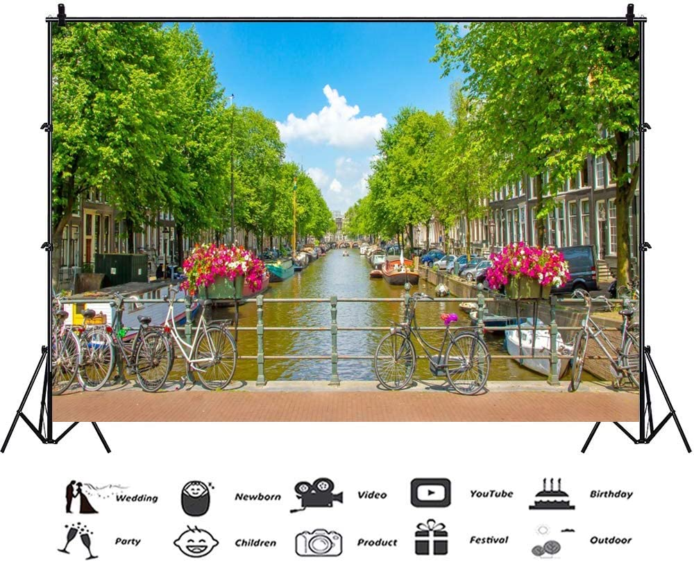 Vinyl 8x6.5ft Amsterdam Travel Photography Backdrop City River Green Trees Eurpo Architecture Backgrouds Spring Holiday Romantic Wedding Portraits Children Adult Photo Studio Props