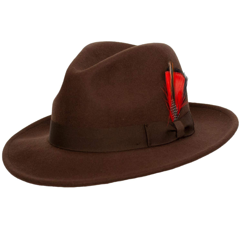 e8a98506548b7 9th Street Reverb Classic Felt Fedora 100% Wool at Amazon Men s Clothing  store