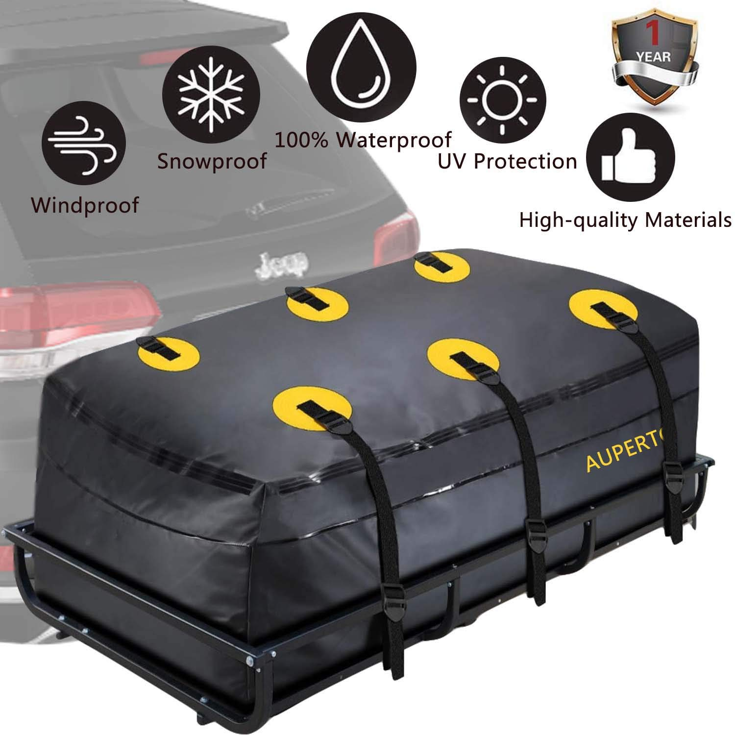 AUPERTO Cargo Bag, Waterproof Cargo Tray Bag 20 Cubic Feet Trailer Hitch Cargo Carrier Bag by AUPERTO