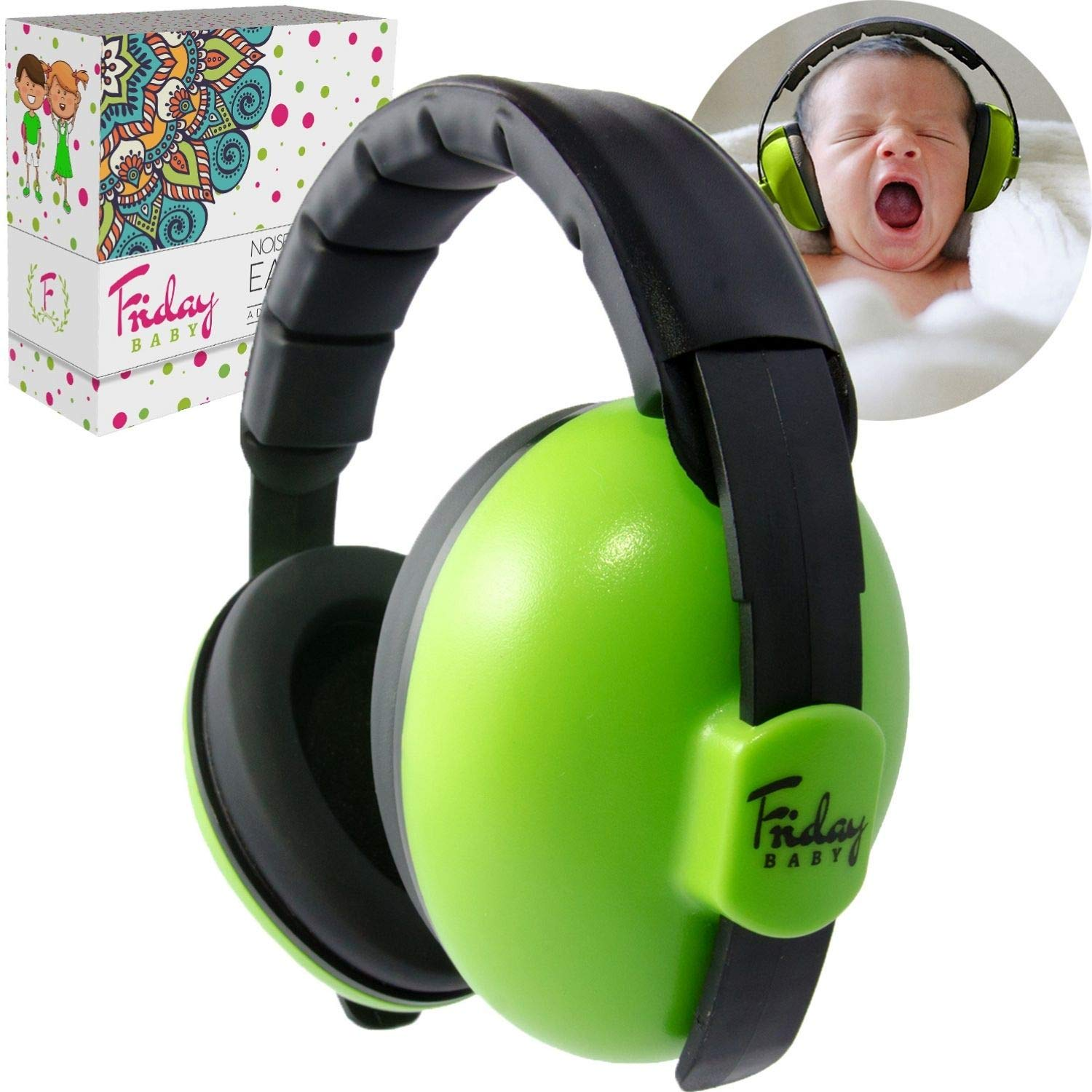 Fridaybaby Baby Ear Protection (0-2+ Years) - Comfortable and Adjustable Noise Cancelling Baby Ear Muffs for Infants & Newborns   Baby Headphones Noise Reduction for Airplanes Fireworks Concert