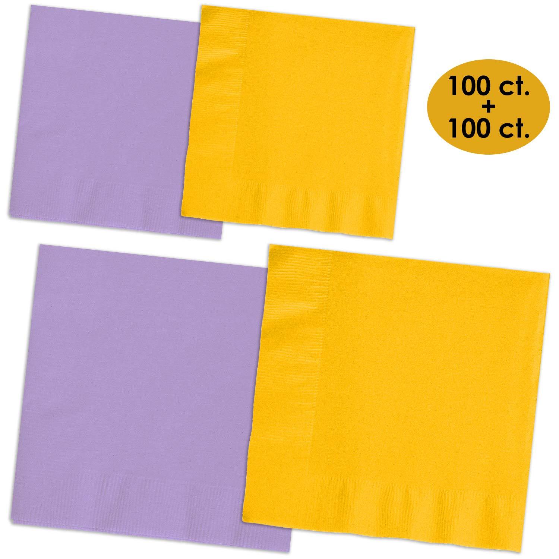 200 Napkins - Lavender & Sunshine Yellow - 100 Beverage Napkins + 100 Luncheon Napkins, 2-Ply, 50 Per Color Per Type