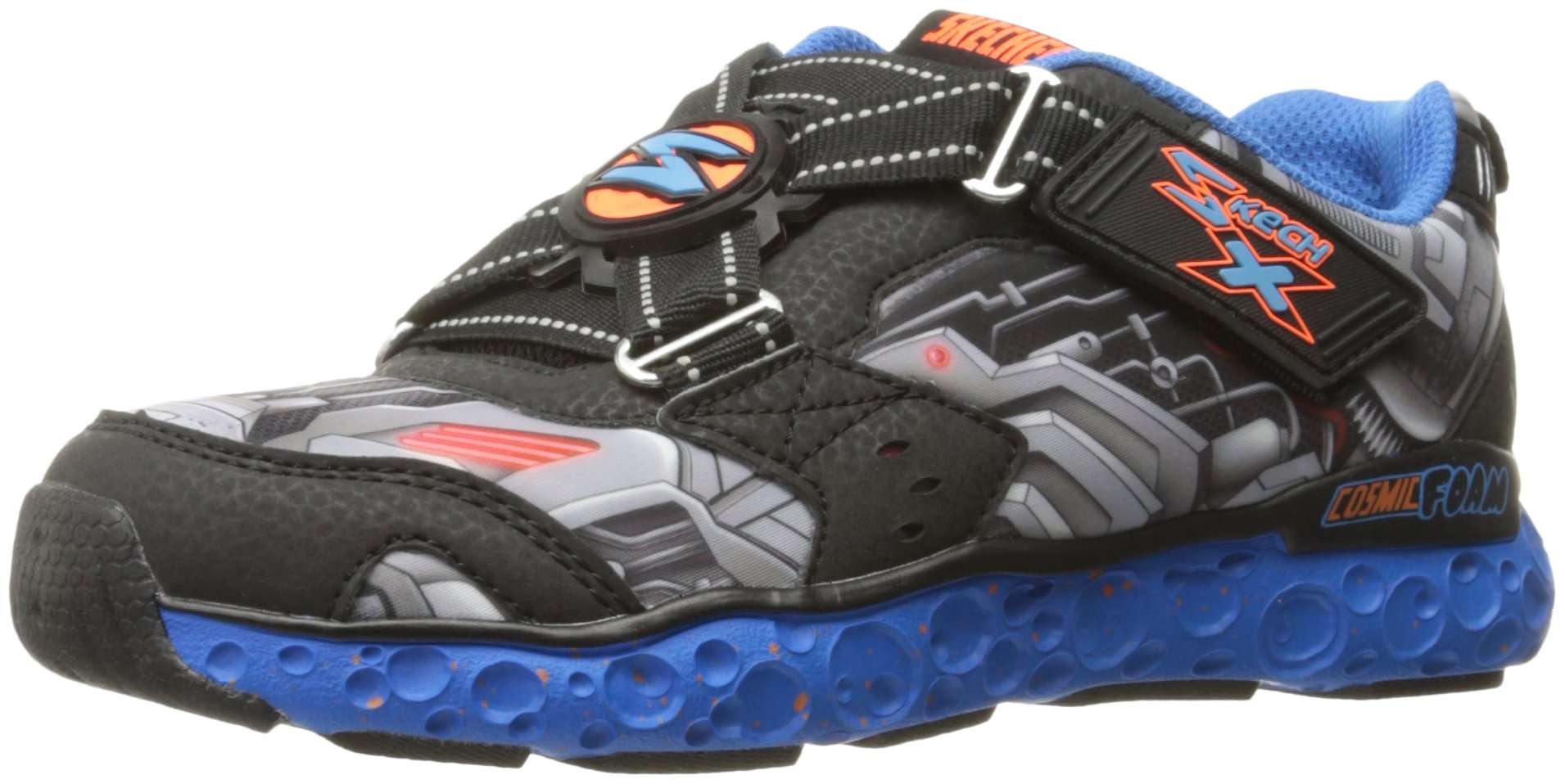 Skechers Kids Boys' Cosmic Foam-Portal-X Sneaker,Black/Blue/Orange,12 M US Little Kid