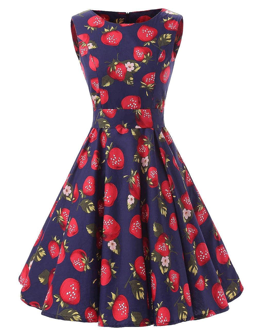 Strawberry Ensnovo Womens Vintage 1950s Sleeveless Retro Floral Print Rockabilly Swing Dress