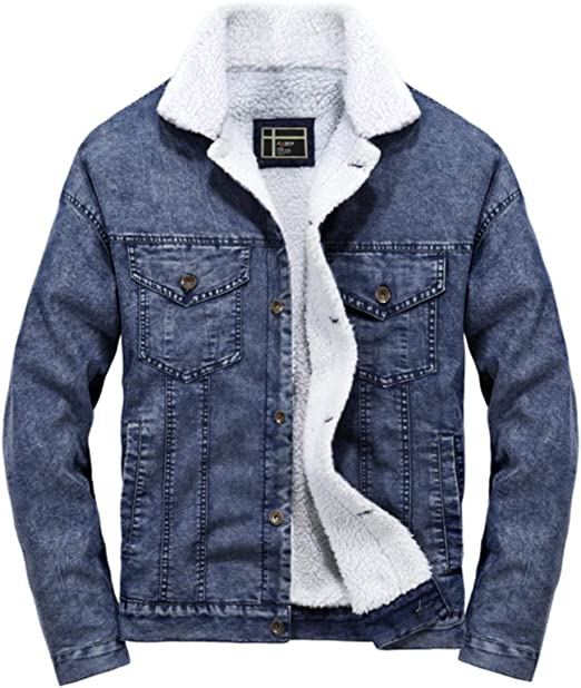 男性デニムジャケット冬のコートファッションウールの裏地厚いスリムな暖かいデニムジャケットクラシックの綿の服