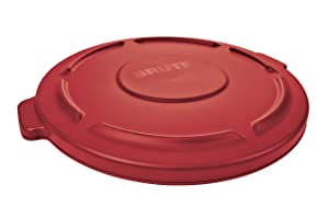 Rubbermaid Commercial FG261960RED BRUTE Heavy-Duty Round Waste/Utility Container, 20-gallon Lid, Red