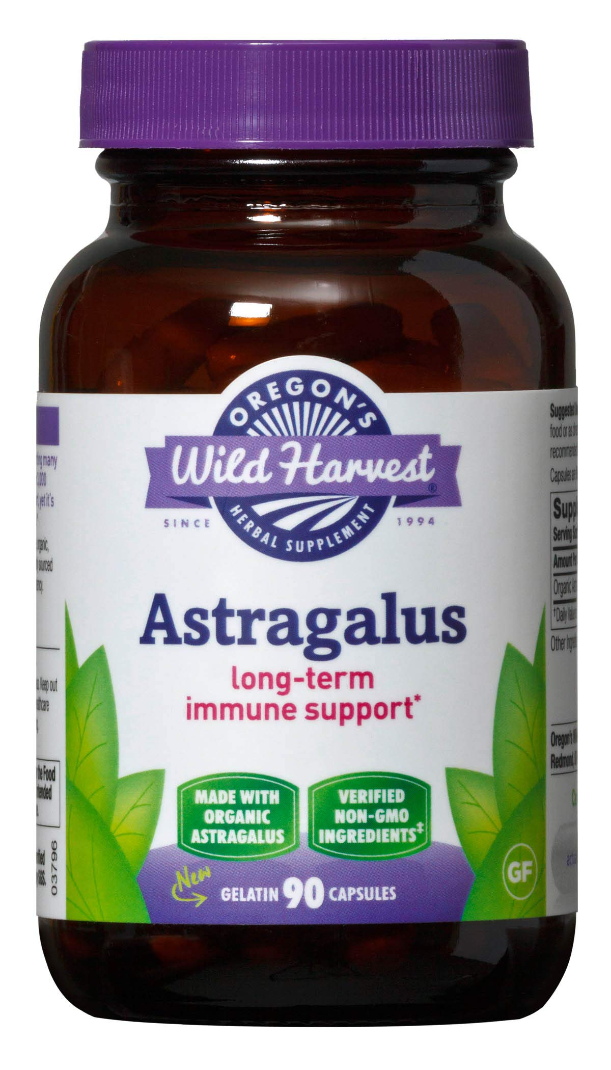 Oregon's Wild Harvest Non-GMO Astragalus  Capsules Organic Herbal Supplements (Packaging May Vary), 90 Count