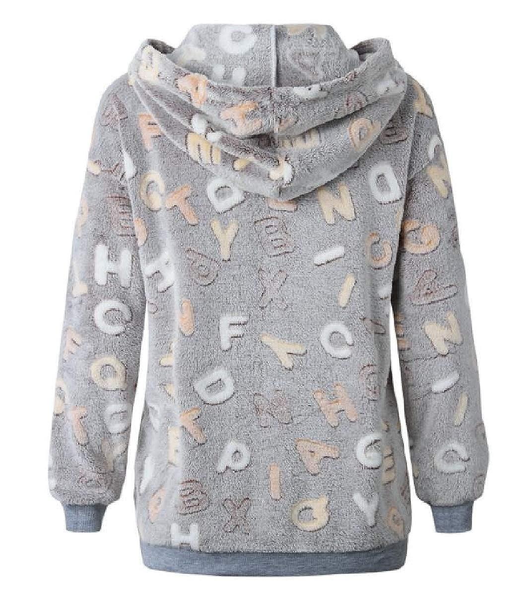 WillingStart Womens Plush Long Sleeve Letter Printed Hoodies Sweater Pullover Coat
