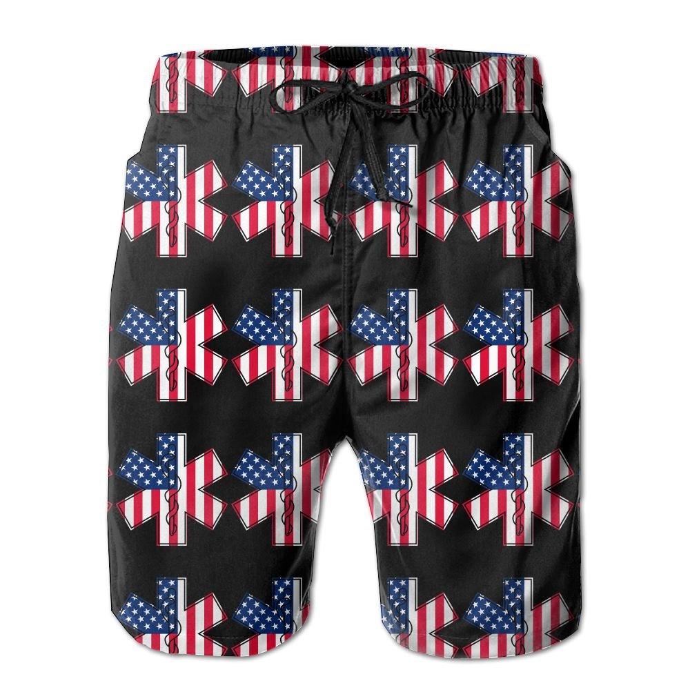 EMT and Paramedic Star Of Life American Flag Mens Basic Watershorts L With Pocket