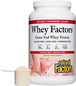 Whey Factors by Natural Factors, Grass Fed Whey Protein Concentrate, Aids Muscle Development and Immune Health, Strawberry, 2 lbs (34 Servings)