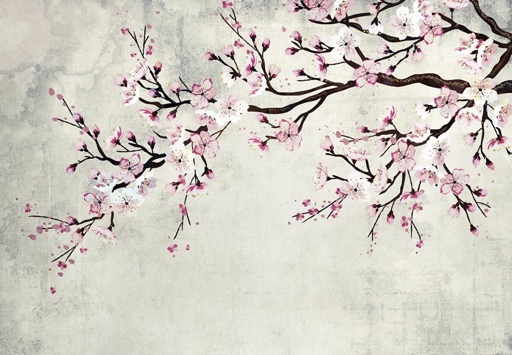 wall26 - Large Wall Mural - Watercolor Style Ink Painting Pink Cherry Blossom on Vintage Wall Background | Self-Adhesive Vinyl Wallpaper/Removable Modern Wall Decor - 100x144 inches by wall26 (Image #2)