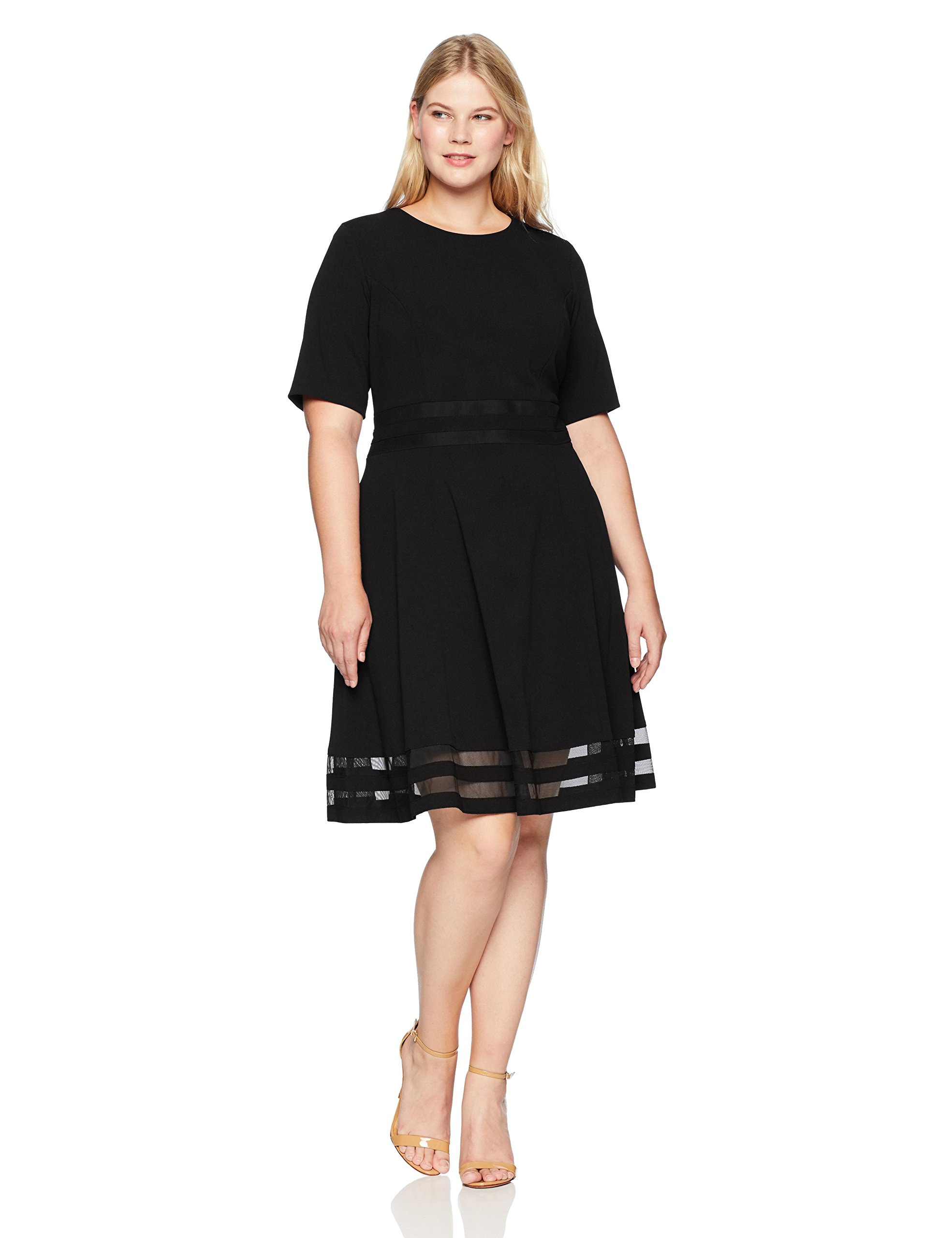 Calvin Klein Women's Plus Size Sleeved Fit and Flare Dress with Sheer Inserts, Black, 16W