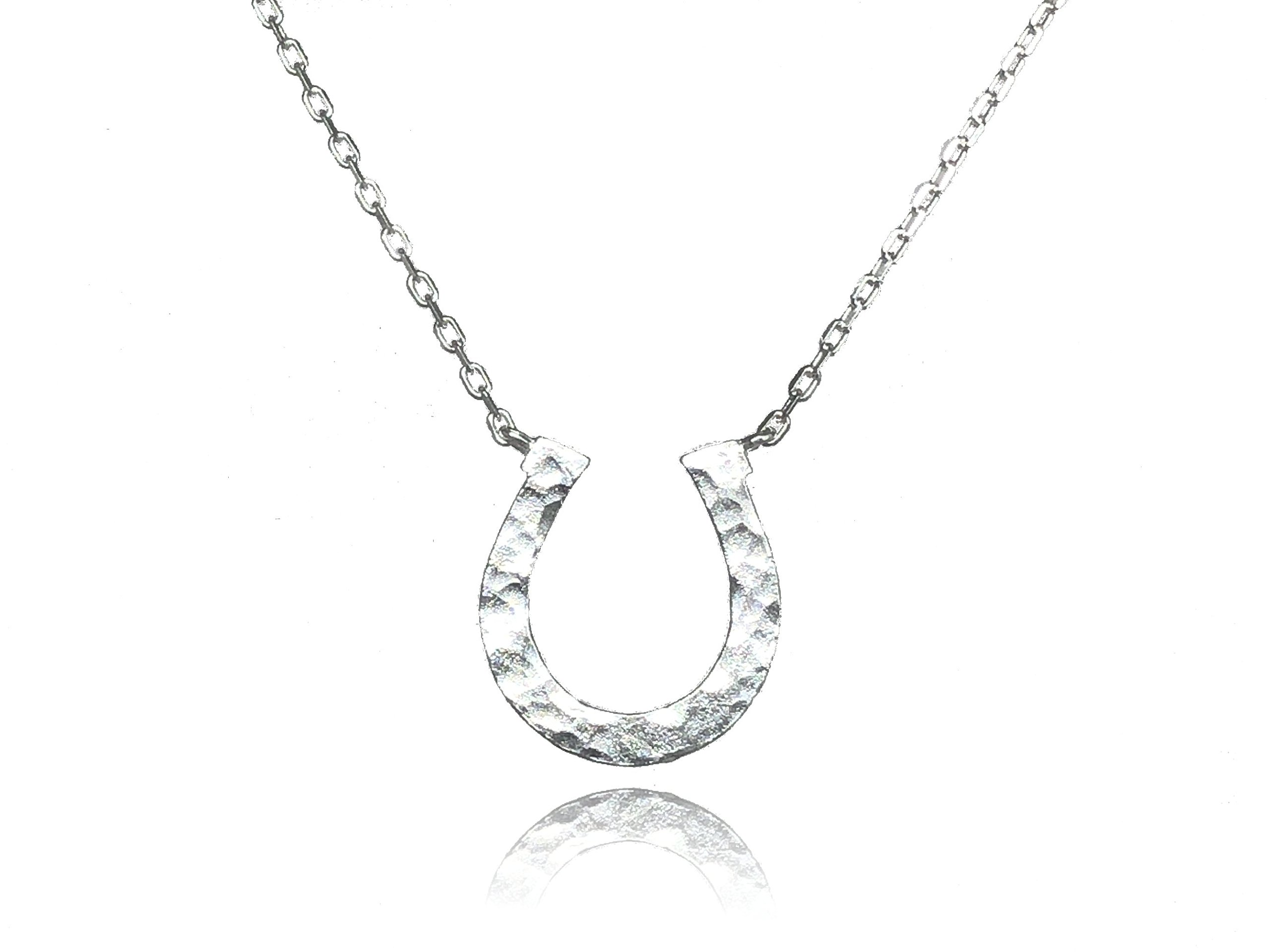 Dote Lucky Horseshoe Pendant Genuine .925 Sterling Silver Hammered Necklace 16-18 Adjustable Chain