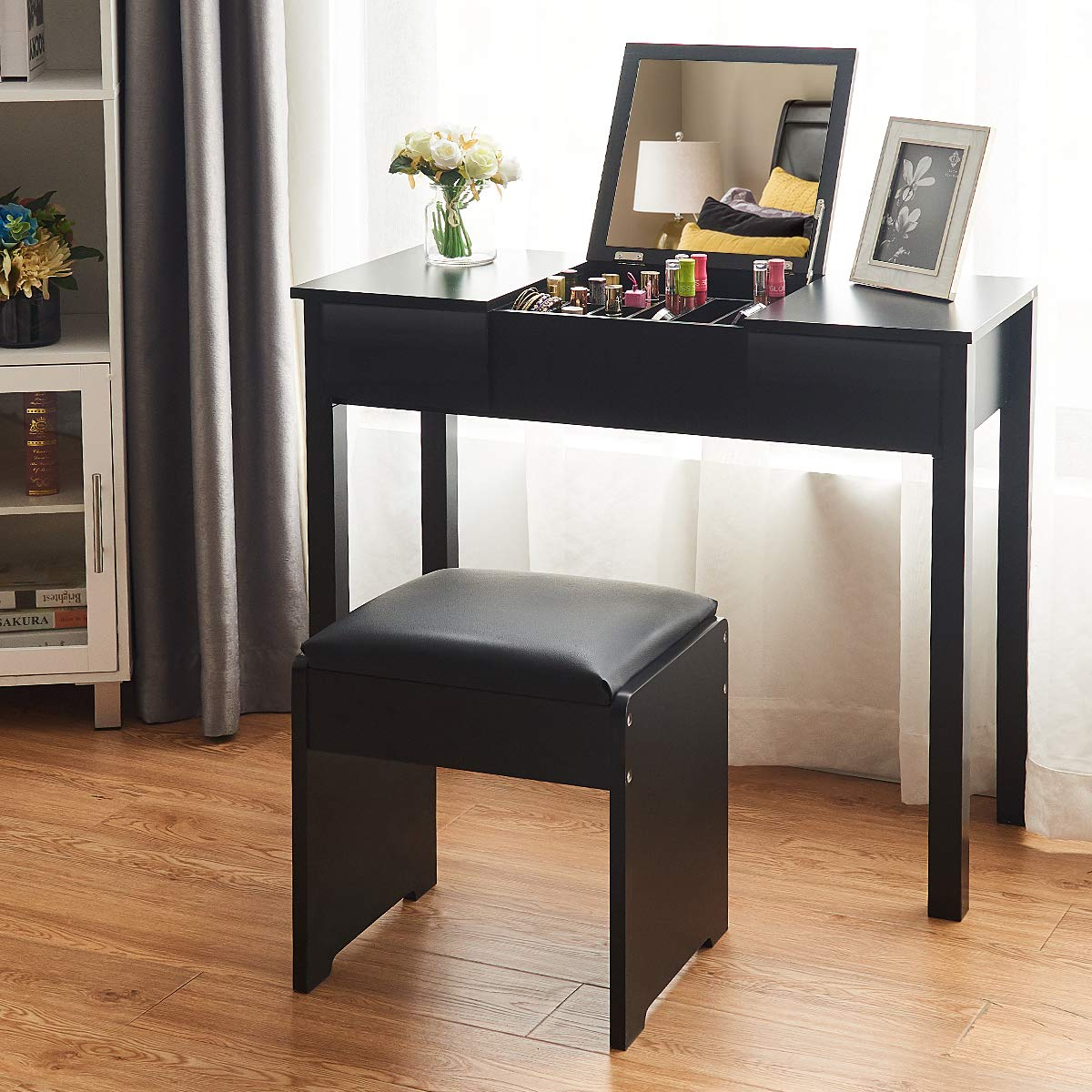 Giantex Bathroom Vanity Makeup Dressing Table with Flip Top Mirror 2 Drawers & 3 Removable Organizers, PU Leather Padded Seat Bench Chair, Bedroom Vanities with Stool, Black