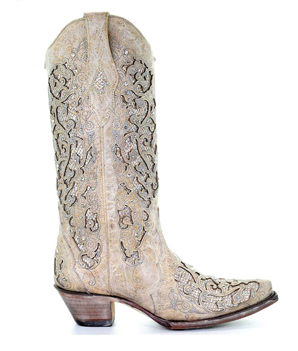 1256527bf239 Amazon.com | Corral Women's 13-inch White/Green Glitter Inlay & Crystals  Pull-On Cowboy Boots - Sizes 5-12 B | Mid-Calf