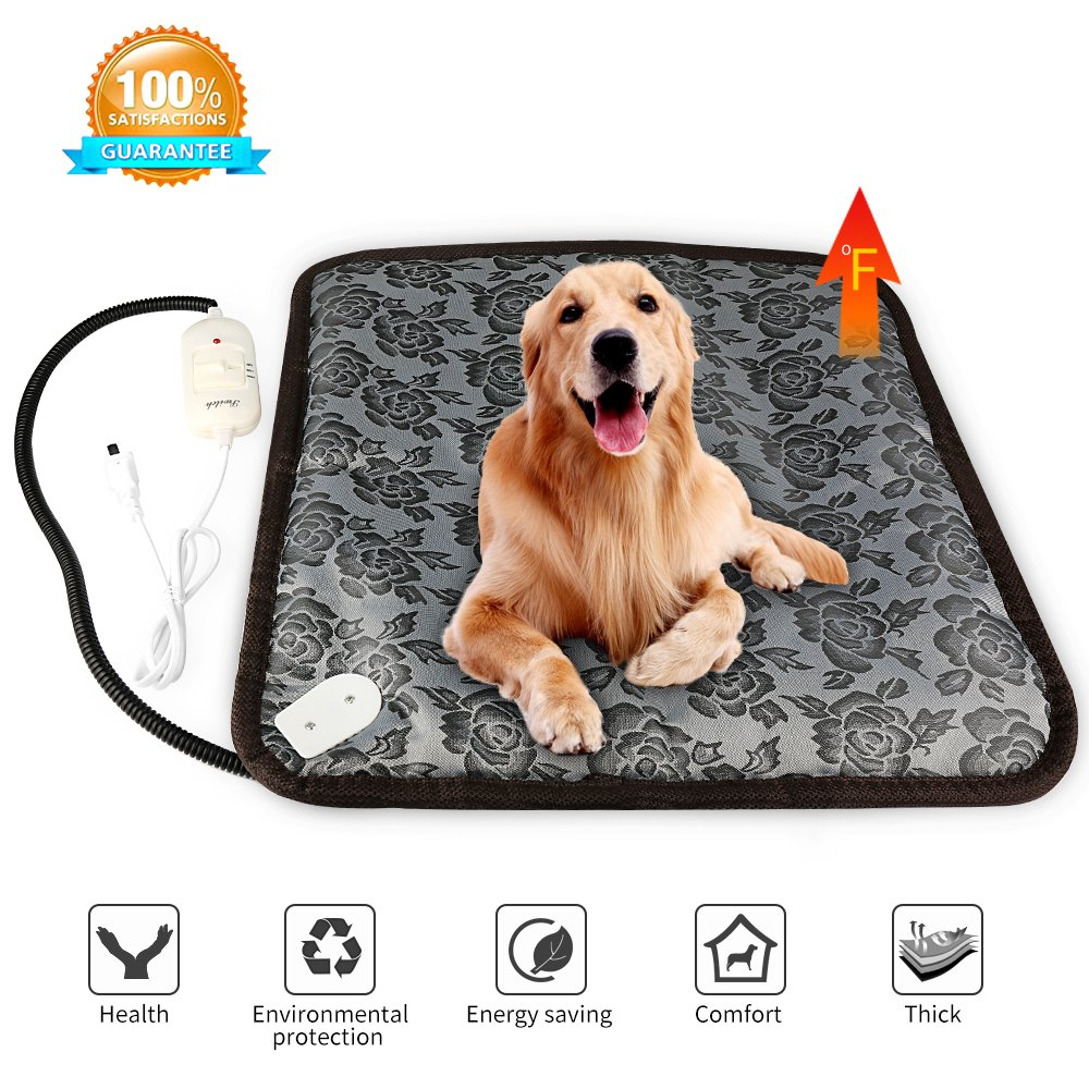 ONSON Pet Heating Pad, Cat Dog Adjustable Warming Mat Waterproof Electric Heating Pad with Chew Resistant Steel Cord (17.7''x17.7'', Flower)