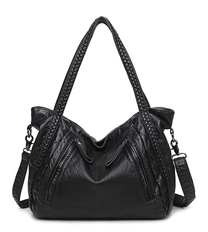 Women Soft Leather Handbag Casual Travel Shoulder Bag Large Capacity Tote Bag Hobo Slouchy Cross Body Bag Satchel