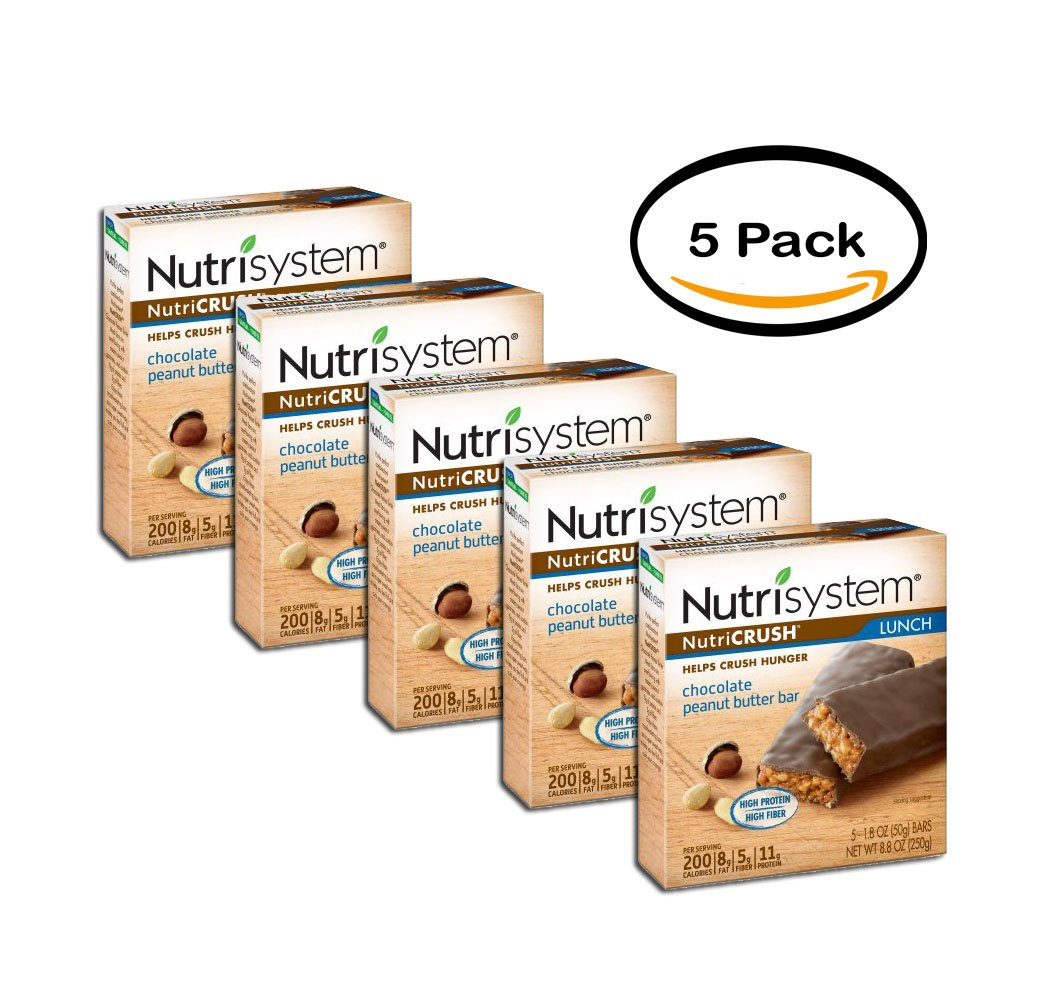 PACK OF 5 - Nutrisystem nutriCRUSH Chocolate Peanut Butter Lunch Bars, 5 count