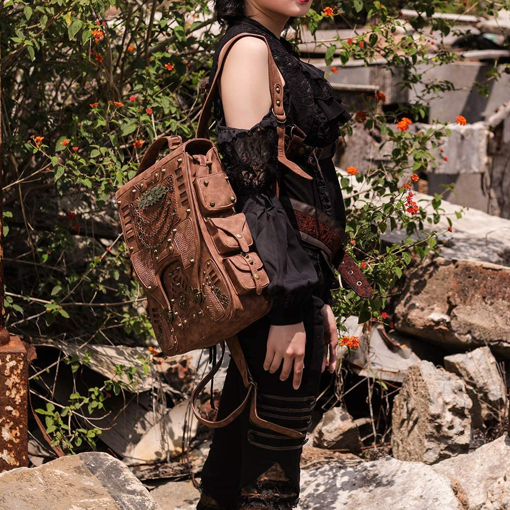 Steampunk Backpack Women Men Leather Vintage Retro Rock Fashion Gothic Bags 2019