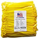 """8"""" Cable Ties. Premium Nylon Wire Management Zip-ties. Several colors available in 1,000 piece pack or Bulk Wholesale Case Quantity. 50 LB Tensile. USA Strong Cable Ties (8"""" 1000 Pack, Yellow)"""