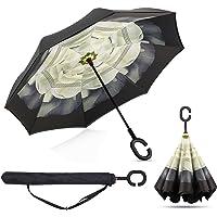 BP@ Manos en forma de C innovadora inversa Paraguas libre de la manija paraguas de doble capa a prueba de viento plegable para los hombres y las mujeres Mejor uso de los viajes y el coche - (106 cm)