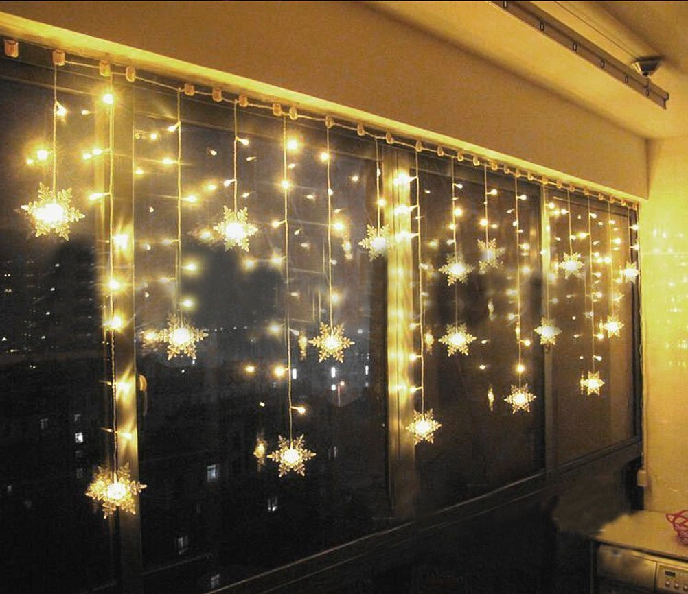Hownew X LED Snowflake Curtain Lights Outdoor Indoor Waterproof String Fairy Decoration For